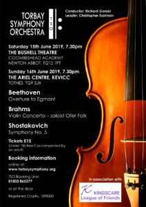 Torbay Symphony Orchestra support Kingscare with local concert 15th June 2019